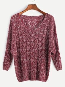 Burgundy V Neck Drop Shoulder Eyelet Sweater
