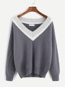 Grey Contrast V Neck Dropped Shoulder Seam Sweater