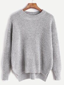 Heather Grey Drop Shoulder High Low Slit Side Sweater
