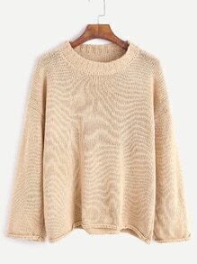 Light Khaki Dropped Shoulder Seam Sweater