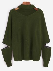 Army Green Choker Neck Sweater With Sleeve Zip Detail