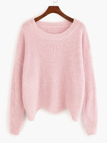 Pink Dropped Shoulder Seam Wave Hem Sweater
