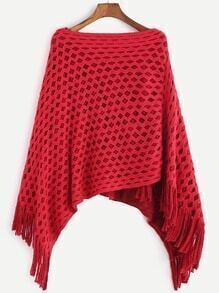 Red Boat Neck Eyelet Asymmetric Fringe Hem Poncho Sweater