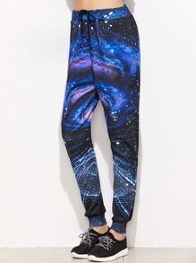 Galaxy Print Drawstring Waist Beam Port Pants