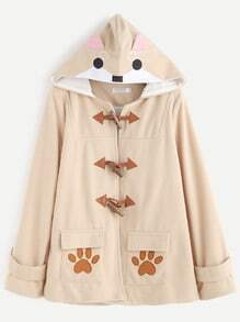 Apricot Cartoon Embroidery Horn Button Pocket Hooded Coat