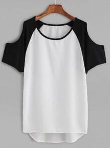 Color Block Open Shoulder High Low T-shirt