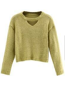 Mustard Cut Out Crop Sweater