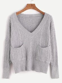 Grey V Neck Drop Shoulder Cable Knit Sweater