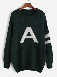 Dark Green Drop Shoulder Varsity Pattern Sweater