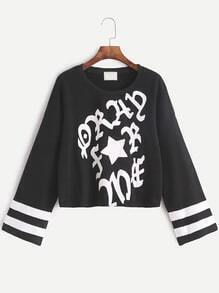 Black Varsity Print Drop Shoulder Sweatshirt