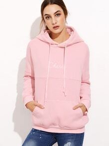 Pink Letter Print Hooded Sweatshirt