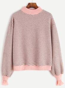 Contrast Stripe Drop Shoulder Ruffle Cuff Sweatshirt