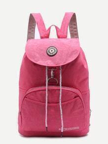 Pink Front Pocket Drawstring Nylon Backpack