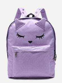 Cute Fox Purple Nylon Front Pocket Backpack