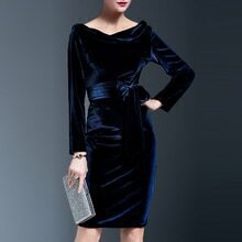 Navy Mercerized Velvet Tie-Waist Sheath Dress