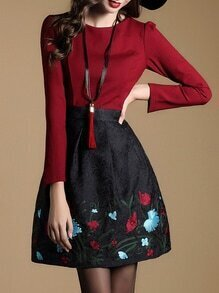 Red Embroidered Jacquard Combo Dress