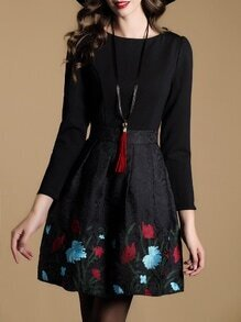 Black Embroidered Jacquard Combo Dress