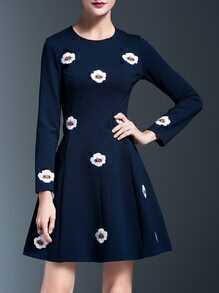 Blue Applique Pouf A-Line Dress