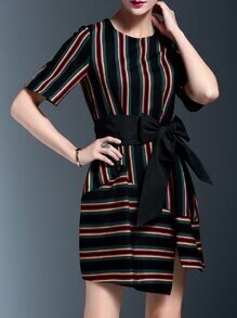 Color Block Striped Bowknot Asymmetric Dress