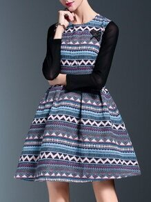 Multicolor Zigzag Print A-Line Dress