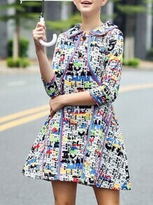 Multicolor Lapel Print A-Line Dress