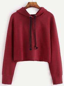 Red Raw Hem Crop Hooded Sweatshirt