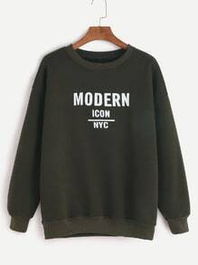 Dark Green Letter Print Sweatshirt
