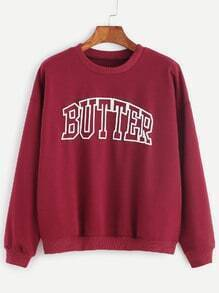 Burgundy Letter Print Drop Shoulder Sweatshirt