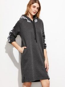 Grey Striped Side Raglan Sleeve Drawstring Hooded Sweatshirt Dress