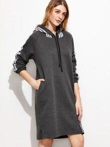 Grey Striped Side Raglan Sleeve Drawstring Hooded Sweatshirt Dress