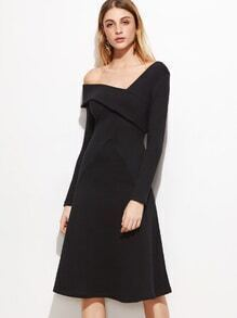 Black Oblique Shoulder Fold Over A Line Dress