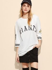 White Varsity Print Dropped Shoulder Seam T-shirt Dress