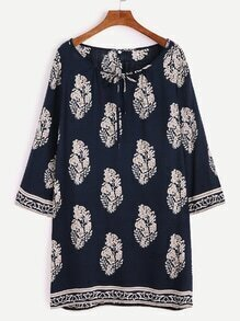 Navy Tribal Print Tie Neck Tunic Dress