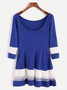 Royal Blue Scoop Neck Contrast Mesh Peplum Top