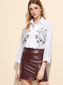 White Flower Embroidery Button Shirt