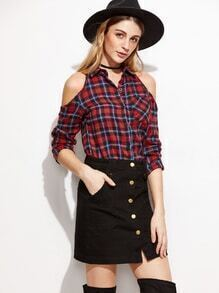 Red Plaid Open Shoulder Dip Hem Blouse