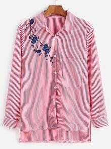 Vertical Striped High Low Flower Embroidery Pocket Blouse