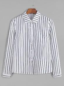 White Vertical Striped Button Shirt