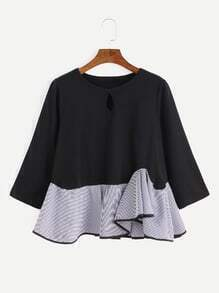 Black Contrast Striped Asymmetric Ruffle Hem Keyhole Front Blouse