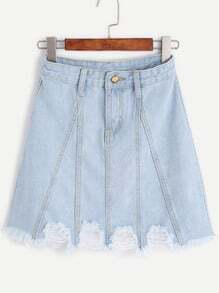 Pale Blue Frayed Hem A Line Denim Skirt