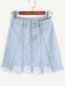 Pale Blue Frayed Hem A Line Denim Skirt