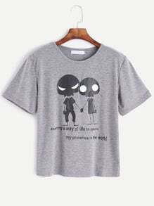 Grey Alien Print T-shirt