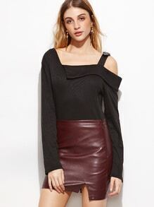 Black Oblique Shoulder Fold Over Buckle Strap T-shirt