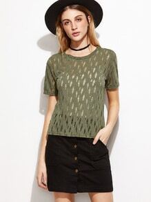 Green Hollow Out Short Sleeve T-shirt