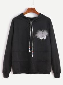 Faux Fur And Cartoon Eyes Embellished Drawstring Hooded Sweatshirt