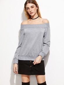 Light Grey Boat Neck Sweatshirt
