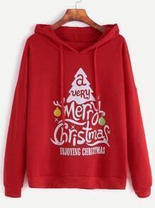 Red Christmas Print Drop Shoulder Drawstring Hooded Sweatshirt