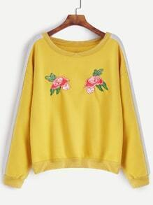 Yellow Contrast Panel Flower Embroidered Sweatshirt
