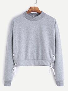 Light Grey Crew Neck Lace Up Side Sweatshirt