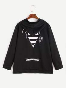 Black Print Back Zip Up Drawstring Hooded Sweatshirt